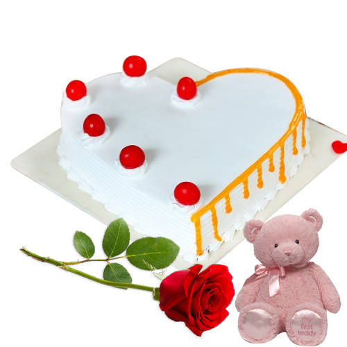 Send Combo of Heart Shape Vanilla Cake with Teddy N Red Rose Online