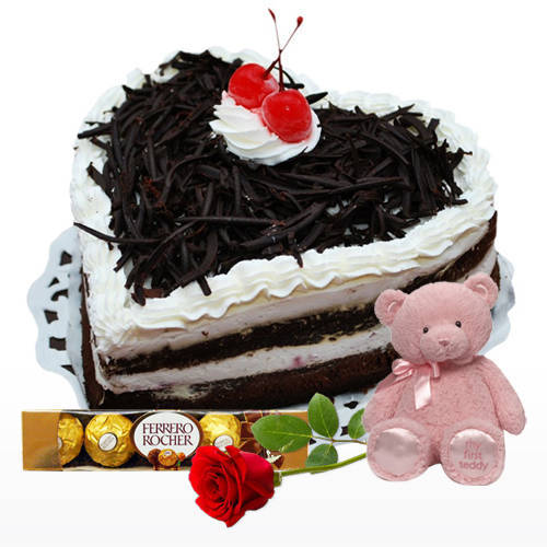 Gift Heart-Shape Black Forest Cake with Red Rose, Ferrero Rocher N Teddy Online