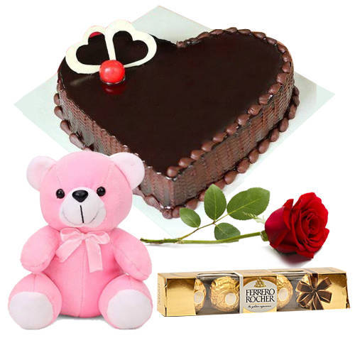 Order Chocolate Cake in Heart-Shape with Teddy, Single Rose N Ferrero Rocher Online