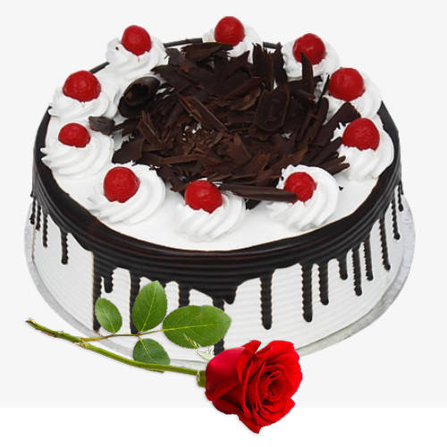 Gift Online Eggless Black Forest Cake with Single Rose