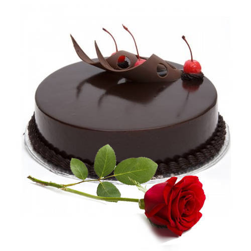 Send Combo of Eggless Chocolate Cake with Single Rose