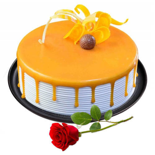 Online Order Eggless Butter Scotch Cake with Single Rose
