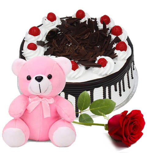 Shop Online Eggless Black Forest Cake with Teddy N Single Rose