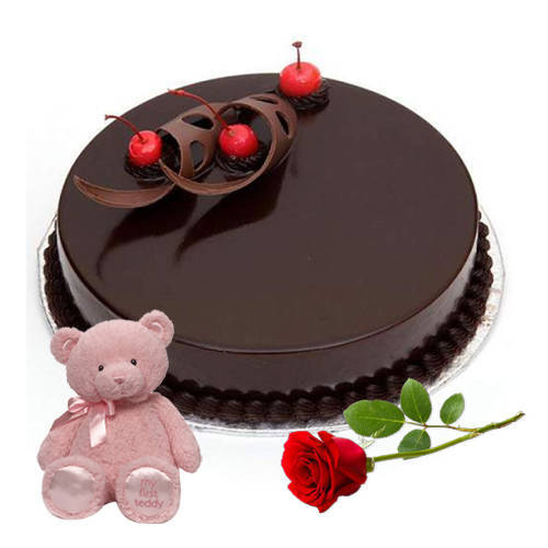 Buy Online Eggless Chocolate Cake with Teddy N Red Rose