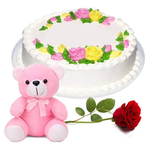 Gift Combo of Eggless Vanilla Cake with Red Rose N Teddy Online