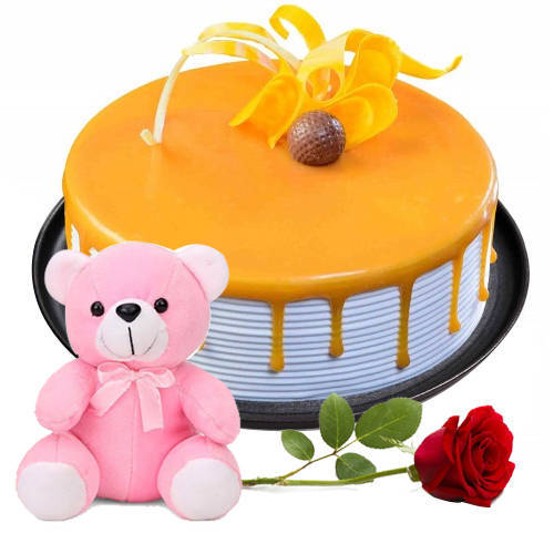 Order Eggless Butter Scotch cake with Teddy N Red Rose Online
