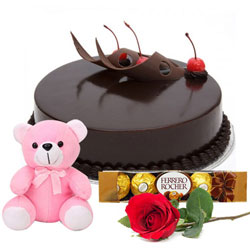 Online Eggless Chocolate Cake with Red Rose, Teddy N Ferrero Rocher