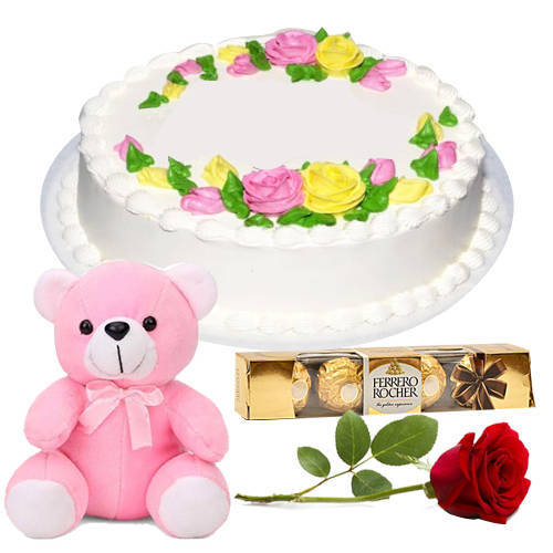 Deliver Eggless Vanilla Cake with Single Rose, Teddy N Ferrero Rocher Online