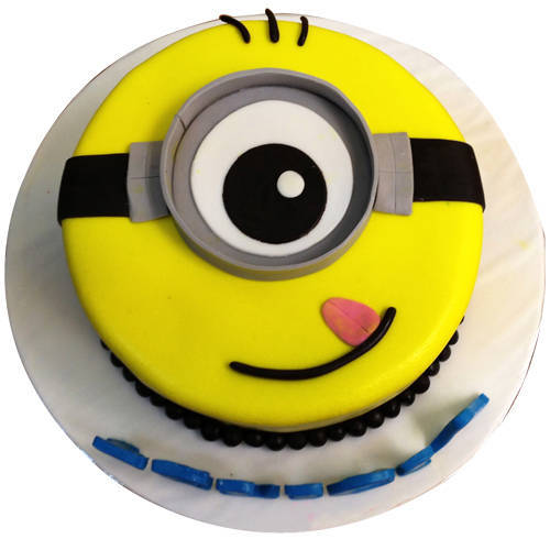 Online Gift 1 eyed Minions Fondent Cake for Kids