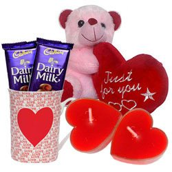 Valentine�s Day Combo of Teddy with Heart, Cadbury Chocolates, Heart Shape Candle n a Love Mug