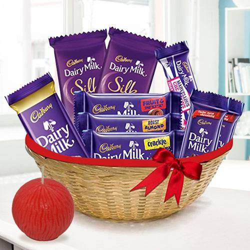 Luscious Dairy Milk Basket and Tea Light Deepavali Gift Pack