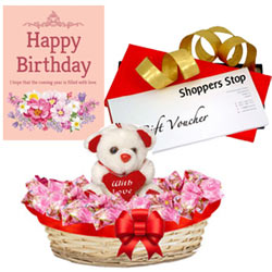 Impressionable Selection of Shoppers Stop Gift Coupon worth Rs.1000, Lovely Teddy, Corazon Chocolate Basket and Card