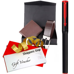 Marvelous Gift Pack of Shoppers Stop Gift Voucher worth Rs.1000, Parkar Beta Pen and a Box of Wallet N Belt