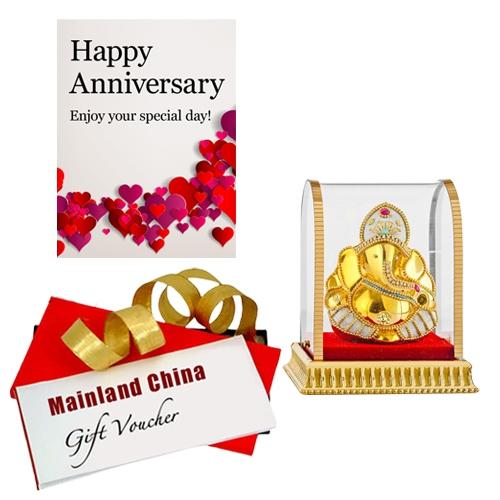 Divine Gift of Vighnesh Idol with Anniversary Card & Mainland China Voucher