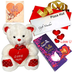 Amazing Pizza Hut Treat Vouchers with Love Teddy Cadbury Dairy Milk Silk Pop Up Heart,  and Free V-Day Card