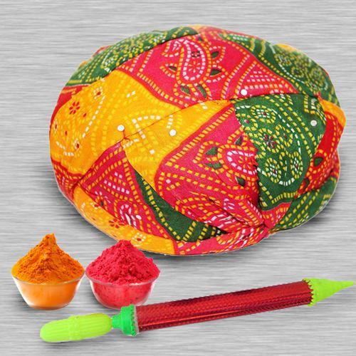 Glittering Rajasthani Topi with Pichkari N Free Gulal for Holi