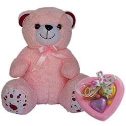 Lovable Teddy with Heart Shape Handmade Chocolate