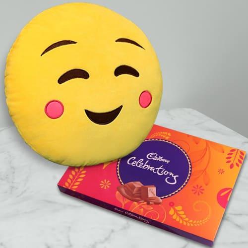 Lip-Smacking Cadbury Celebration with Emoji Hanging Cushion