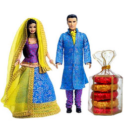 Fabulous Pairing of Barbie N Ken Doll Set with Handmade Chocolates