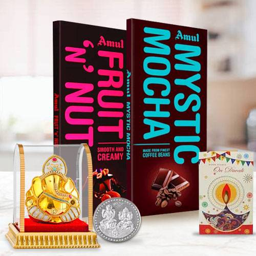 Mesmerizing Amul Chocolate Gift Pack with Coin N Free Diyas