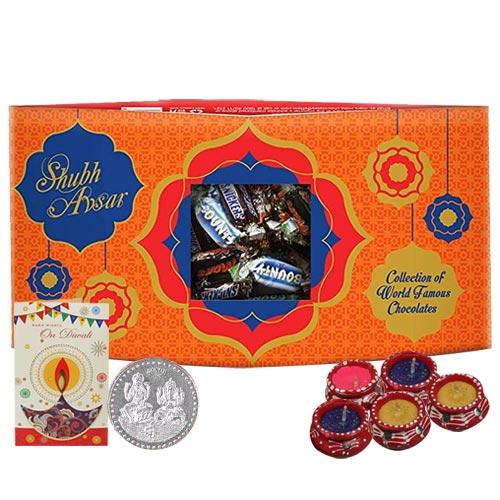 Festive Diwali Greeting Hamper of Chocolates with Free Diyas