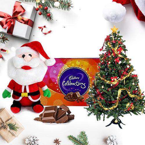 Assorted Chocolate ( Cadburys Chocolates 160 Gms.) with Small Santa Claus and Small Christmas Tree (1Ft. Artificial).