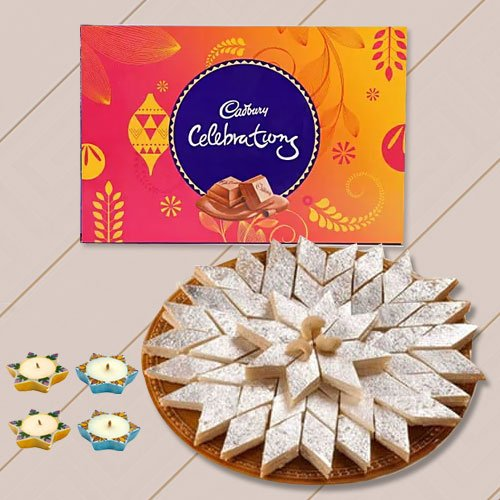 500 Gms. Kaju Katli , Cadburys Celebration Pack, 4 Wax Diya