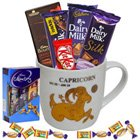 Fascinating Arrangement of Chocolates with Capricorn Sun Sign Printed Mug