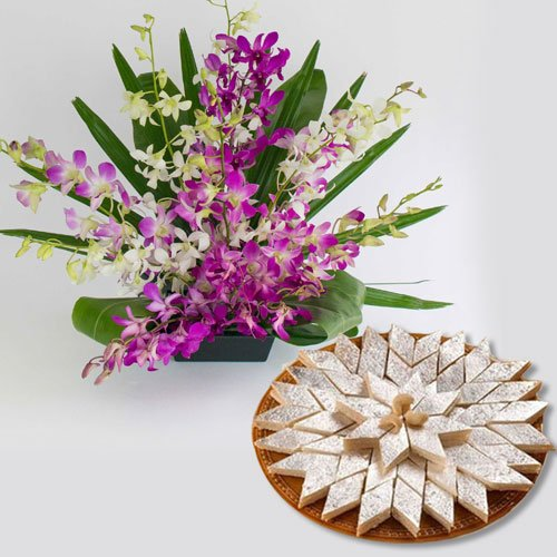 Orchids Basket and Kaju Katli