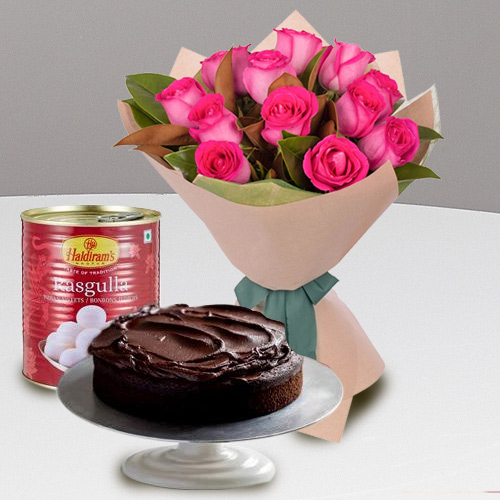 Gift Online Red Roses with Haldiran Rasgulla N Eggless Cake