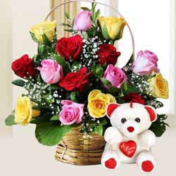 Lovely Fond Affection 15 Mixed Roses with cute Teddy Bear