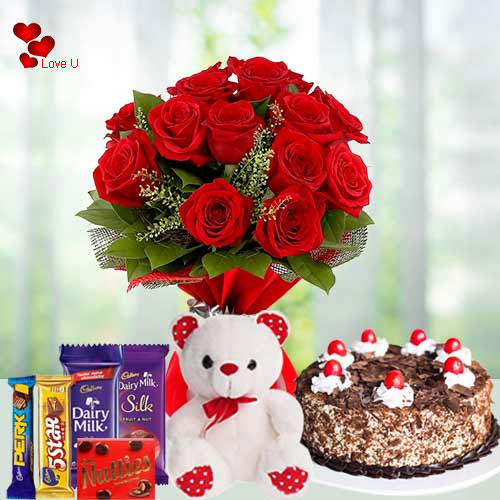Red Roses Bouquet with Teddy N Chocolates for Chocolate Day