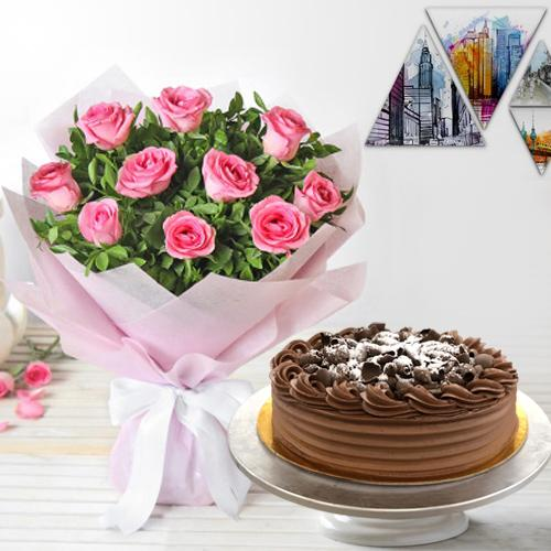 Shop Pink Roses Bouquet with Eggless Chocolate Cake Online