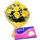 Dainty Yellow Rose Hand Bunch and Cadbury Assortment Chocolates