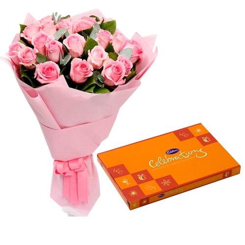 Trendy Pink Roses Hand Bunch with Cadbury Assortment