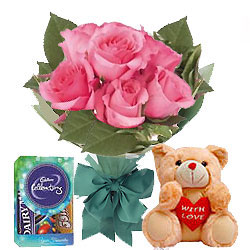 Frenzy Pink Rose Hand Bunch, Small Teddy and Mini Cadbury Celebration