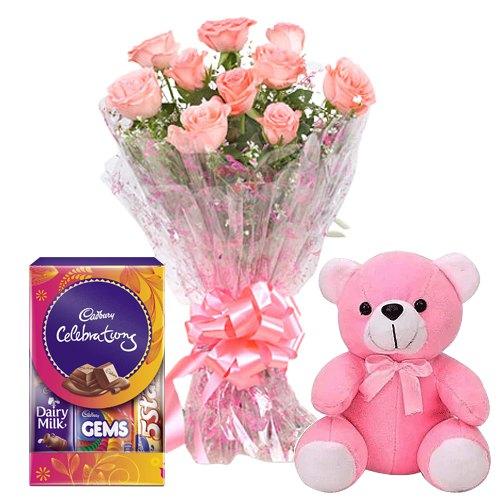 Frenzy Pink Rose Hand Bunch, Small Teddy and Mini Cadbury Celebration