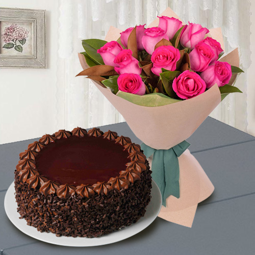 Gift Red Roses with Chocolate Cake Online