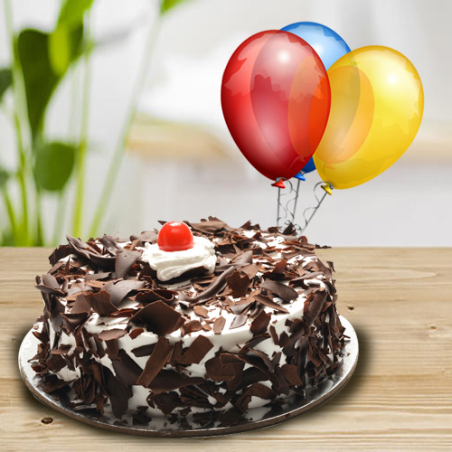Book Online Black Forest Cake with Balloons