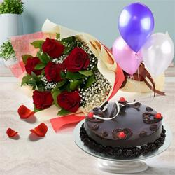 Delicate 1/2 Kg Truffle Cake with 6 Red Roses Bunch and 3 Balloons