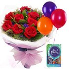 Perfect Choice of Red Roses Bouquet, Balloons and Cadbury Celebration Mini