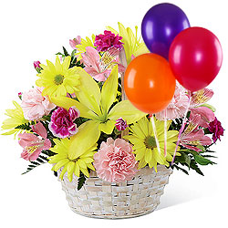 Enchanted Love Mixed Flowers Arrangement in Basket with Colorful Balloons