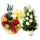 Delectable Fruits Basket N Roses Bouquet