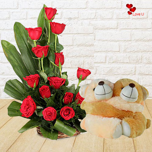 Deliver Twin Teddy N Red Roses Basket Online