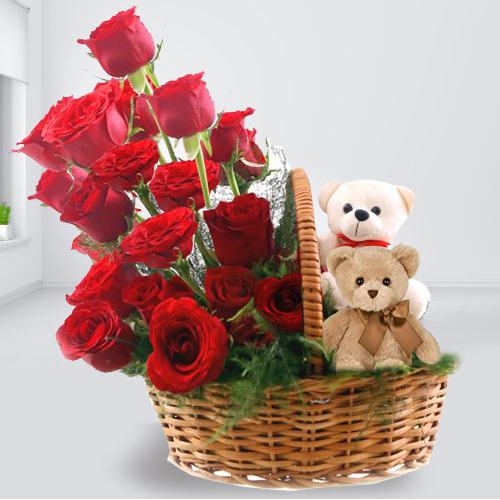 Eye-Catching Red Roses and Twin Teddy Arrangement