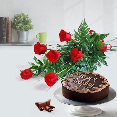 Everlasting Roses Bouquet with Fresh Cake