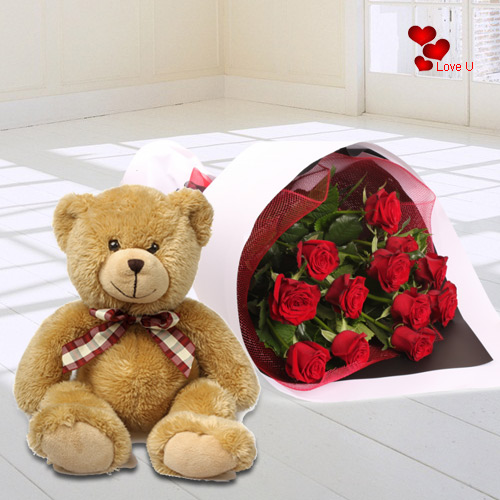 Valentines Day Combo of Teddy N Red Roses