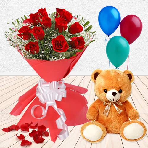 Most Meaningful Surprise Gift of Red Roses, Teddy and Balloons