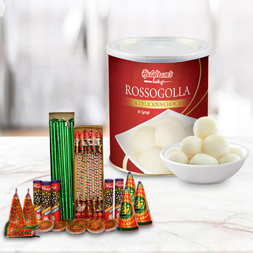 Scintillating Hamper of Haldiram Rasgulla and Crackers