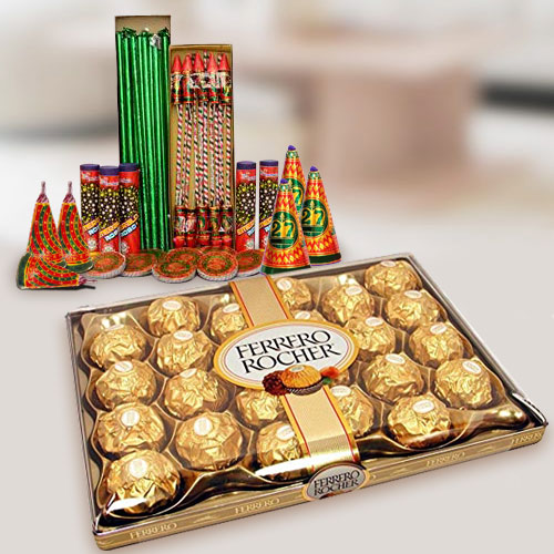 Precious Treat of 24 Pc. Ferrero Rocher Chocolates Box N Fire Cracker for Diwali Celebration